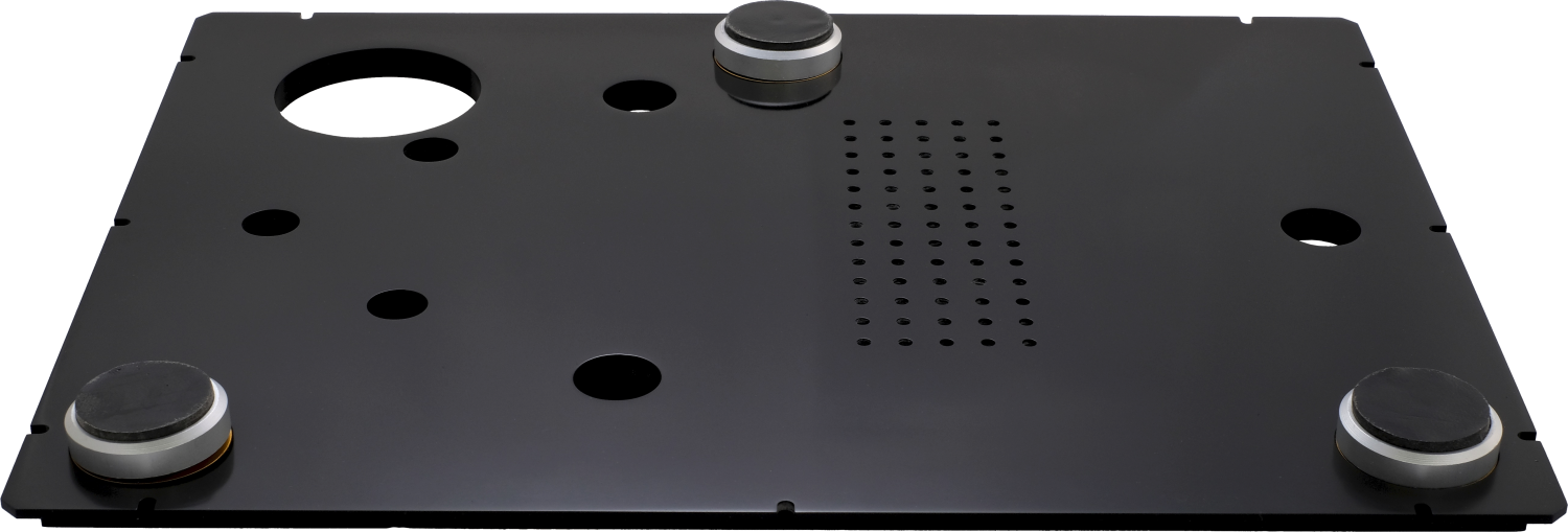 Front and underside view of StackAudio LP12 Serene Base Board made from Solid Surface with standard Serene feet
