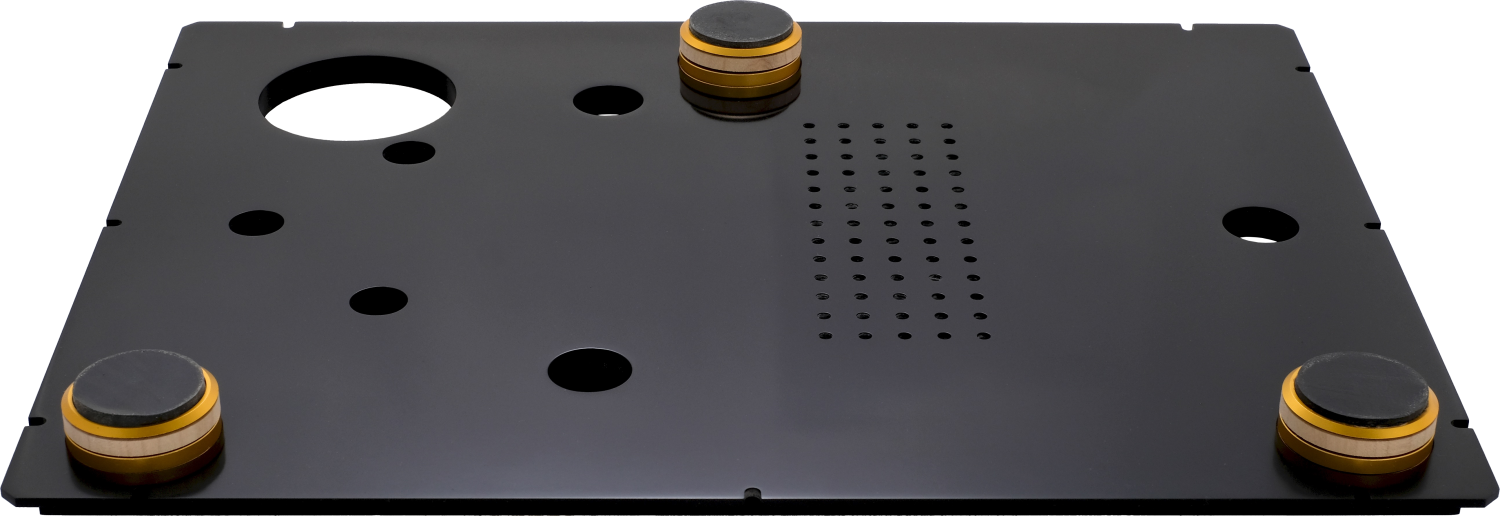Front and underside view of StackAudio LP12 Serene Base Board made from Solid Surface with 5 layer Ultimate feet