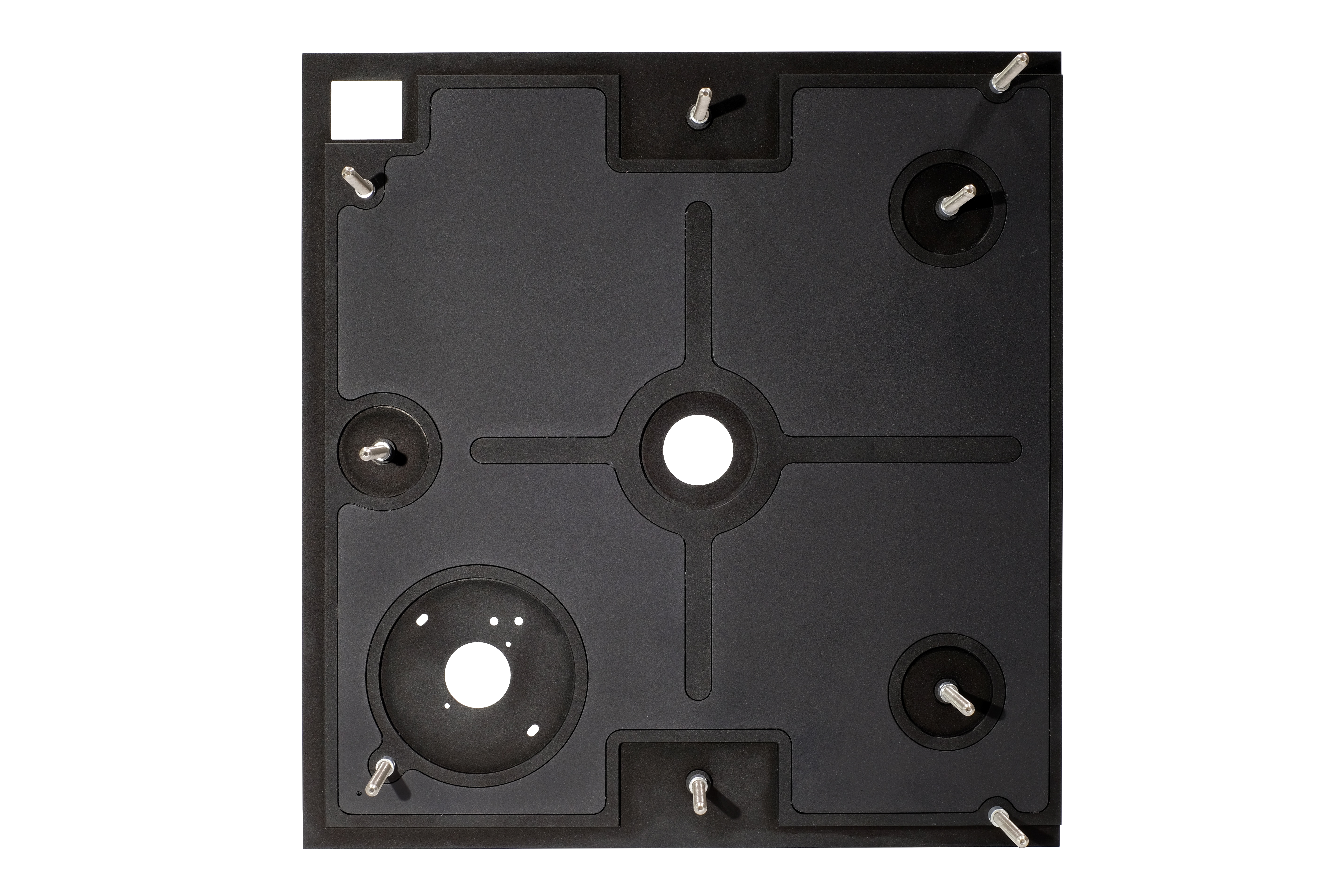 StackAudio Ultimate Top Plate for LP12 in black anodised aluminium from underneath showing machined frame with hexagon pattern