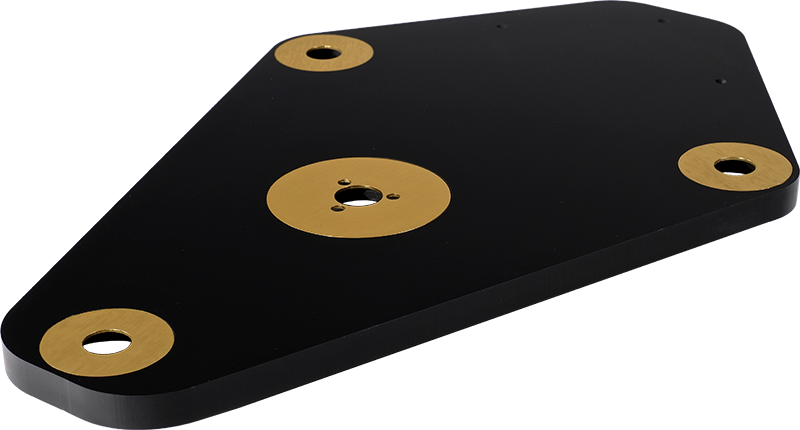 StackAudio Solid Surface LP12 Sub-Chassis from top showing polished black finish