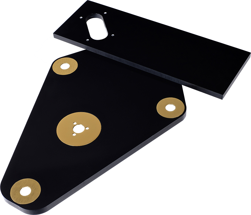 StackAudio Solid Surface LP12 Sub-Chassis from top and arm board end showing polished black finish and aluminium inserts