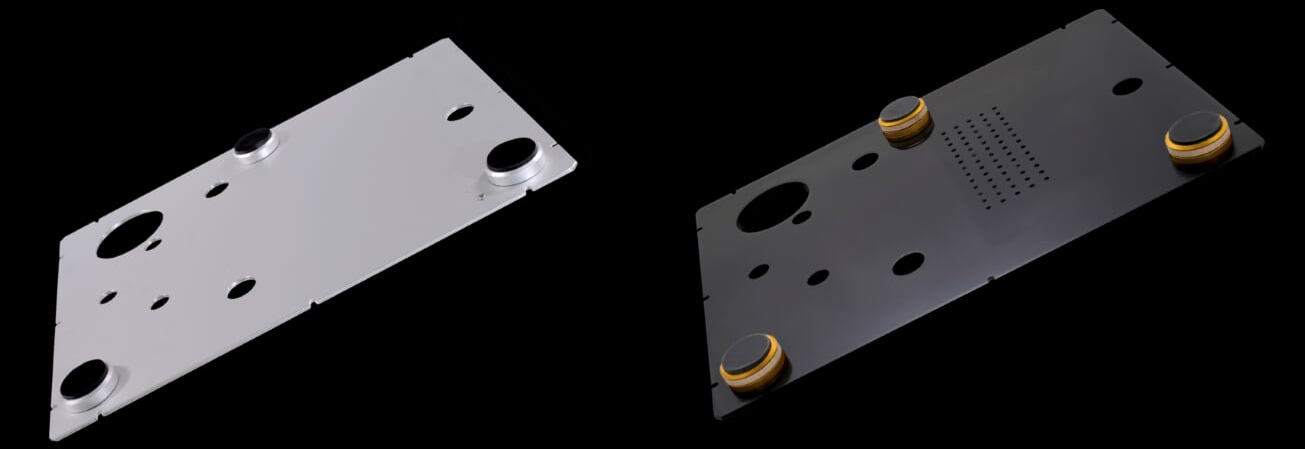 Front and underside view of StackAudio LP12 Serene Base Board made from Solid Surface with Ultimate feet