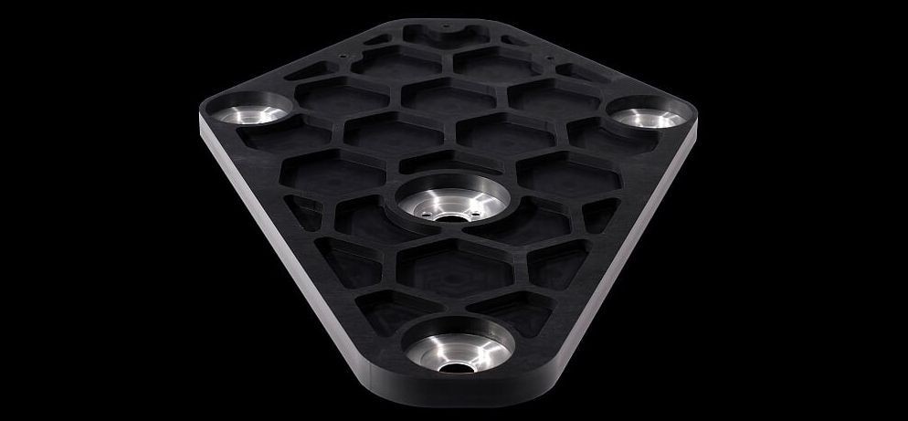 StackAudio LP12 Serene Sub-Chassis underside showing machined hexagon design and Solid Surface material